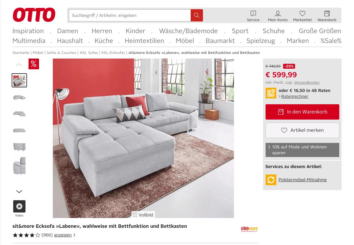 Beispiel Produktbeschreibung Möbel 1
